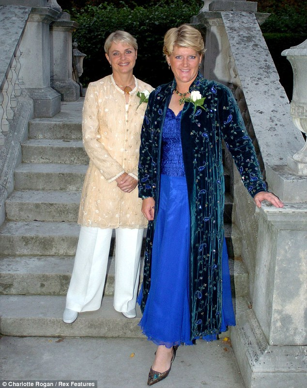 Big day: Claire celebrates tying the knot with Radio 4 announcer Alice Arnold in 2006