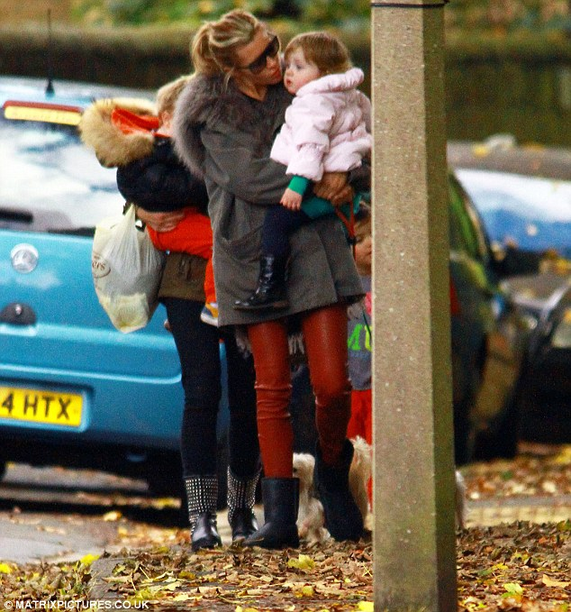 Loving mother: Abbey took young Sophia for a wander on Saturday afternoon through the leafy streets