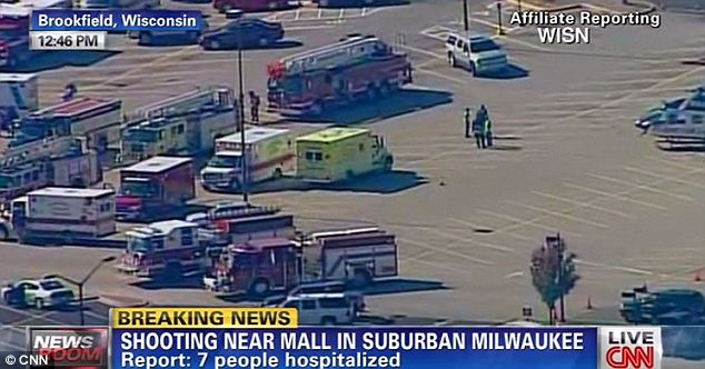On the scene: Multiple ambulances responded to the shooting Sunday afternoon