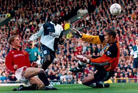 Blast from the past: Butt strikes for the Red Devils against Liverpool