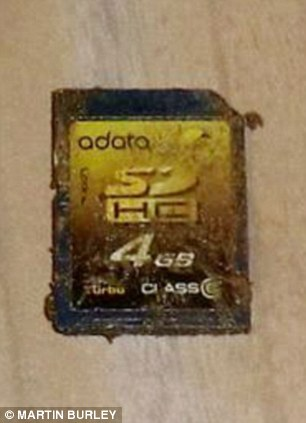 The memory card after it was retrieved from the camera