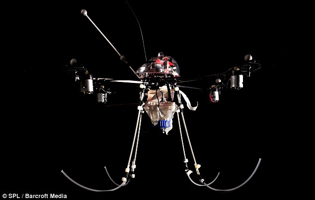 Spy in the sky: Unmanned aerial vehicle developed by engineers at Essex University which could be used for reconnaissance or security