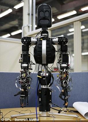 BERT2, Bristol Elumotion Robotic Torso 2, an upper torso robot on display at the Bristol Robotics Laboratory in Bristol, England