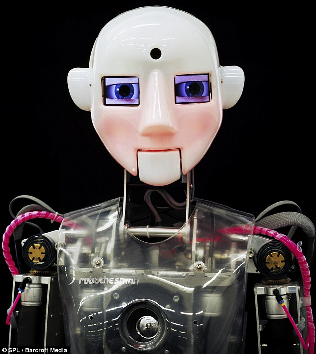 Treading the boards: The Robothespian, made by Engineered Arts Ltd of Cornwall, is a 'humanoid acting robot' which can be programmed to move like a human actor