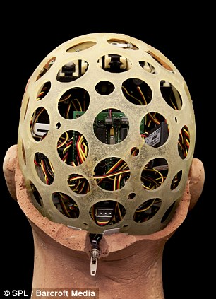 The back of the head of the expressive humanoid robot head Jules