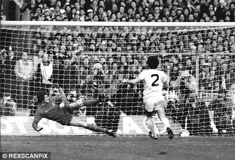 Penalty expert: Ray Stewart sends Ray Clemence the wrong way from 12 yards in the 1981 League Cup final between West Ham and Liverpool
