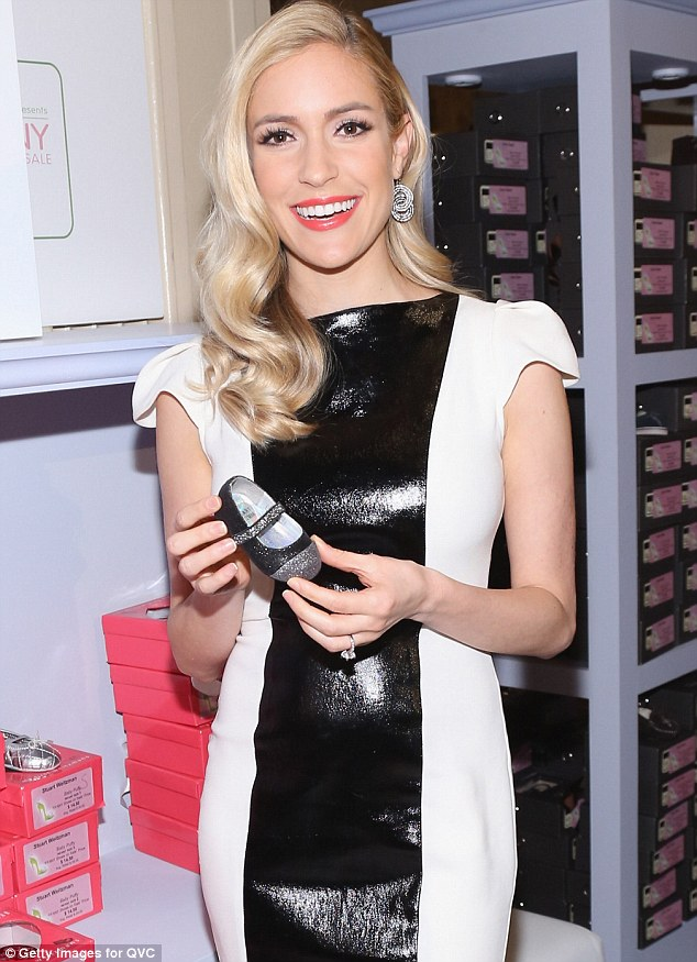 What baby weight? Kristin Cavallari showed off her stunning figure in a PVC dress at QVC Presents FFANY Shoes on Sale at The Waldorf - Astoria Hotel in New York on Monday night