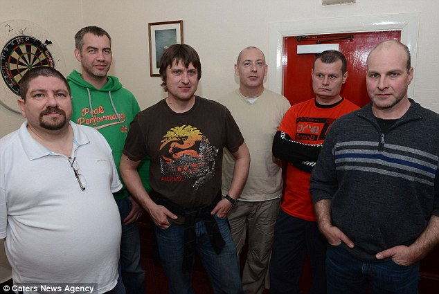 Survivors: From left to right; Michael Mashford, Jorn Gudbrandsgavzy, Adrian Smith, Howard Bourke, Rares Spalnacan and Ingmund Ytroy - oil rig workers who were rescued after the the helicopter went down