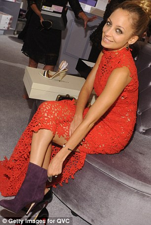 Take it as red: Nicole Richie looked gorgeous in maxi lace, and soon slipped on some ankle boots