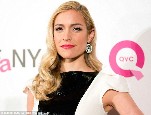 Pop: Kristin brightened her monochrome with a slick of bright pink lipstick