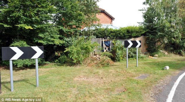 The scene of the accident in Farnham Common, Buckinghamshire, where a conservatory was damaged