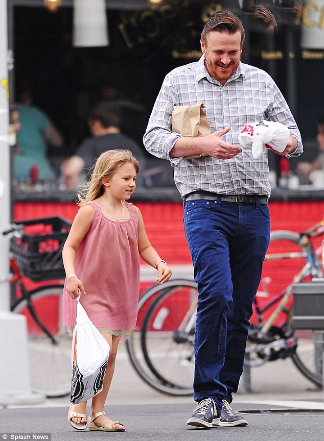 Moving on: Jason Segel and Matilda go out for breakfast near their new home in July
