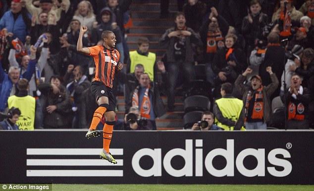 Jump to it: Fernandinho celebrates scoring against Chelsea