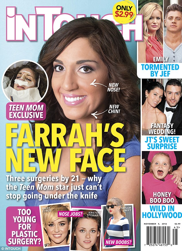 Surgery makeover: Teen Mom star Farrah Abraham revealed the results of her nose job and chin implant on the cover of In Touch magazine