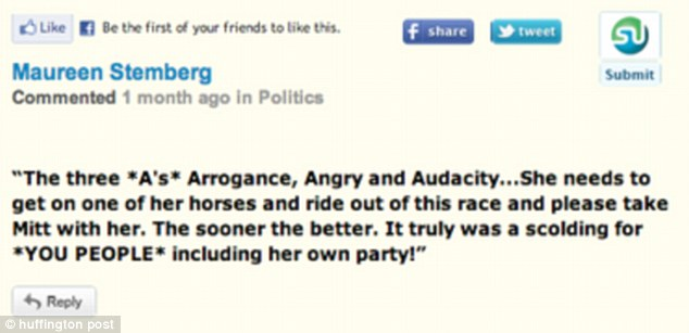 Withering: In another message, Maureen Stemberg attacks Ann Romney