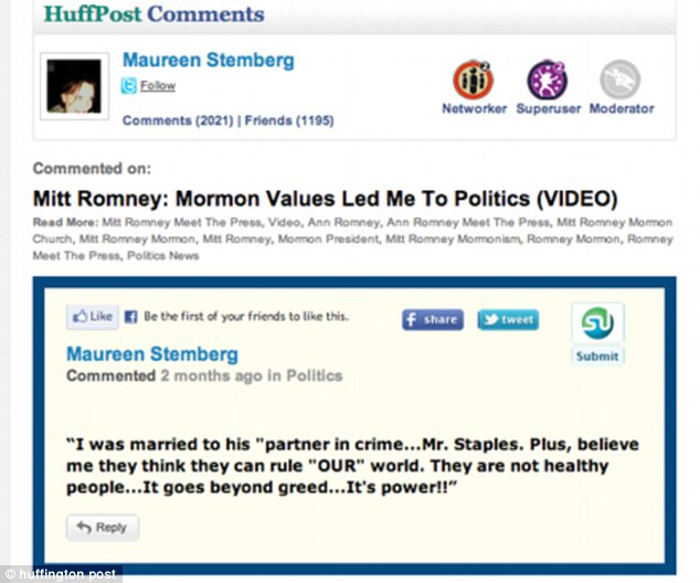 Rage: A message by Maureen Stemberg on HuffPo identifies her as a former 'Mrs Staples'