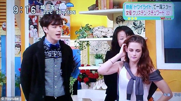 Feeling awkward? Kristen didn't seem comfortable when she appeared on an early morning Japanese show on Wednesday