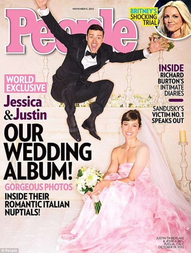Following the fashion crowd: Jessica Biel stepped out wearing a cotton candy-coloured Giambattista Valli dress as she tied the knot with Justin Timberlake in Italy last week