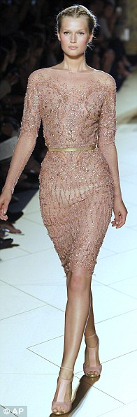 A model wears a creation by fashion designer Elie Saab