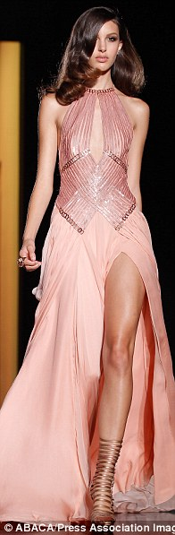 A model walks the runway for Versace