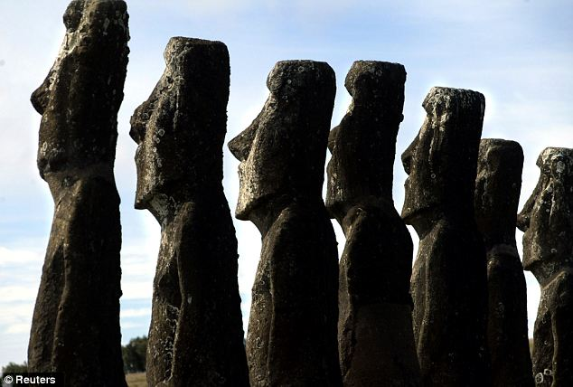 A view of moai in Ahu Akivi, on Easter Island: Nearly 1,000 statues stand on the remote Polynesian island's 63 square miles, but much about their origin and the people who built them remains a mystery