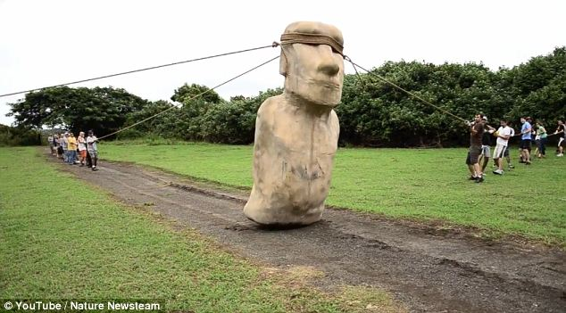 Going for a stroll: A team use a concrete replica to demonstrate how Easter Island's massive statues could have been walked into place rather life one would have moved a fridge