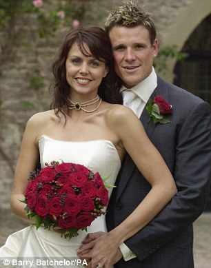 Olympic rower James Cracknell and his wife Beverley Turner on their wedding day