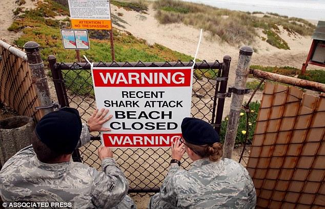 Alarming notice: Airmen 1st class Daniel Clark, left, and Staff Sgt. Keri Embry, post a sign warning surfers of a recent shark attack last October