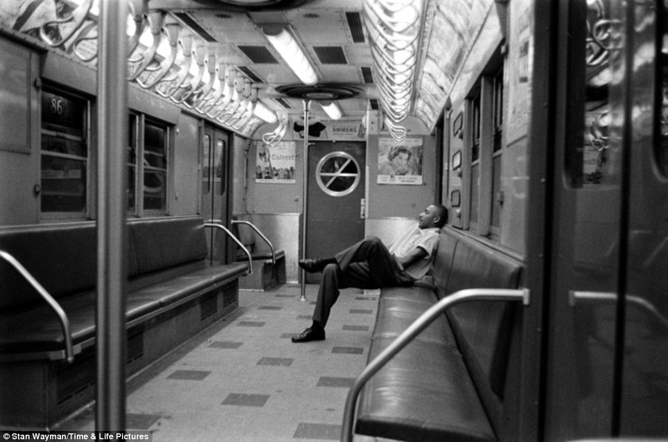 Last stop: Photographer Stan Wayman captured a lone man riding in an otherwise empty car in 1958