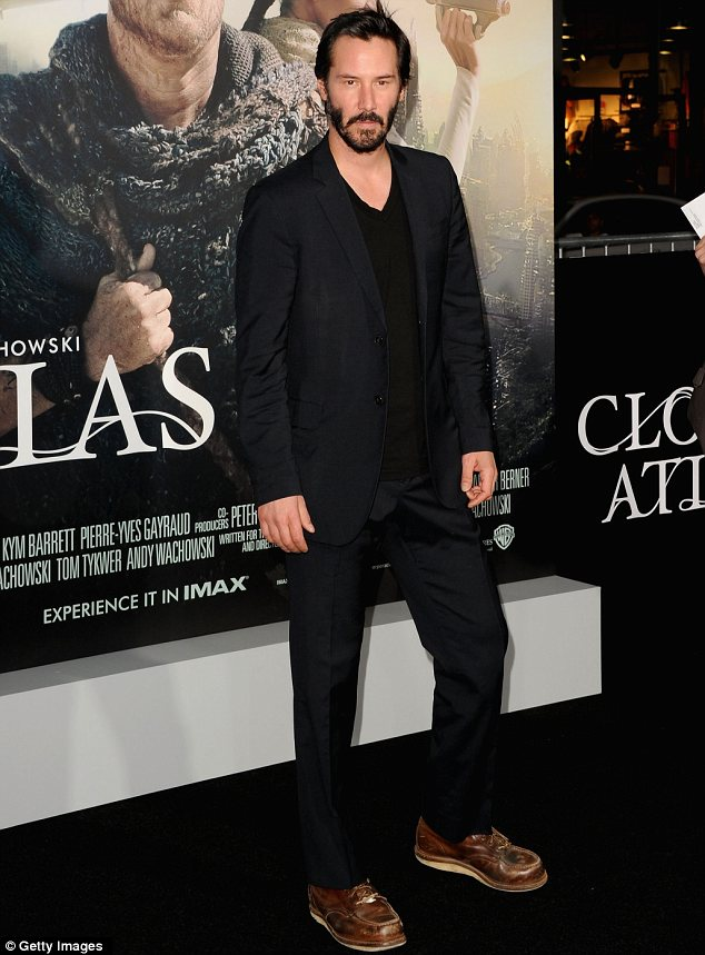 Scruffy: Keanu Reeves almost scrubbed up well but fell short thanks to his battered loafers