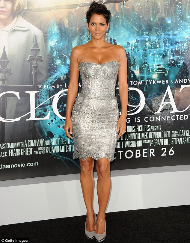 Silver siren: Halle Berry stole the spotlight in a shimmering silver dress at the Cloud Atlas premiere in Hollywood on Wednesday