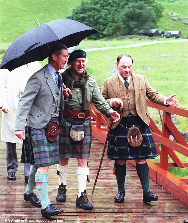 Famous visitors: Dressed in full Highland regalia, Sir Jimmy Savile with the Prince of Wales in Glencoe for a 1999 visit followed by dinner at the DJ's home