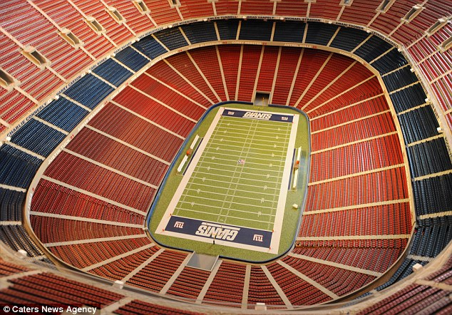 The replica of the 80,000 seat ground is 20 inches long, 17 inches wide and six foot tall and took two years to build