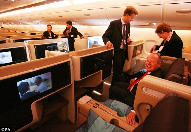 Costly trip: The airline found the only way to make the routes profitable was by configuring the plane with 98 business class seats that sell for about $8,000 for a return (file picture)