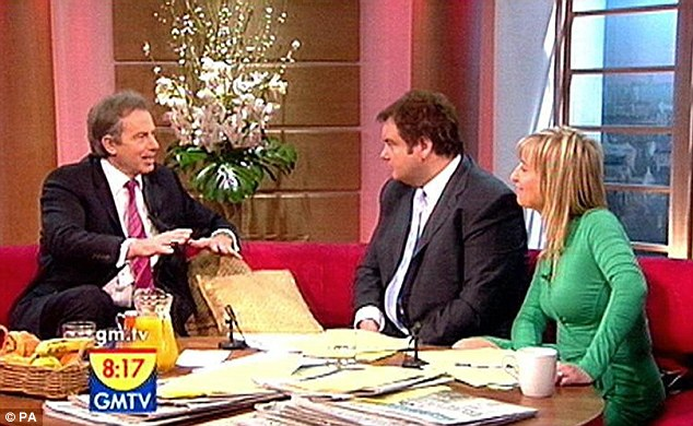 Success: Fiona went on to be a presenter on GMTV and is pictured here interviewing Tony Blair when he was the Prime Minister