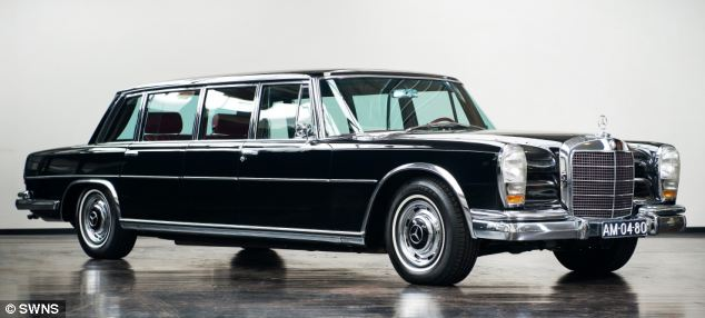 A 1967 Mercedes-Benz 600 Pullman Limousine, worth £120,000 is up for grabs. Famous owners of the 600, though not necessarily this model, include Coco Chanel, Elizabeth Taylor and John Lennon