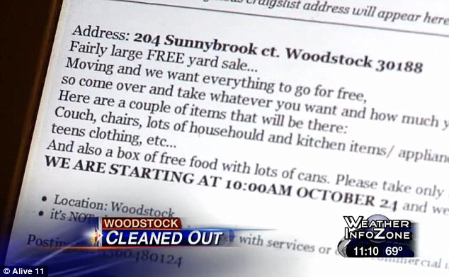 Misconstrued: The family placed a Craigslist ad for a giveaway in the driveway of their small home to begin at 10am on Wednesday