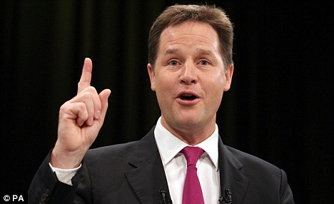 Making a point: Nick Clegg has joined forces with Mr Cameron to emphasise that Britain will not tolerate anything other than a real terms freeze when the 2014-2020 budget is drawn up at a summit next month