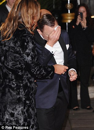 Flustered: Daniel was suffering with a cold when he attended the London premiere of Skyfall