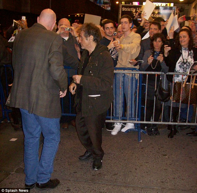 The kind hearted actor signed autographs to the adoring mob outside the  Gerald Schoenfeld Theatre