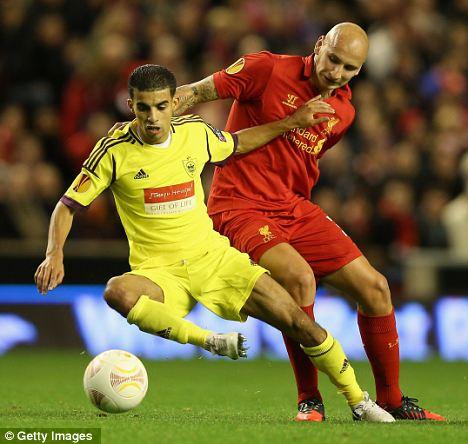 Dogged: Liverpool midfielder Jonjo Shelvey