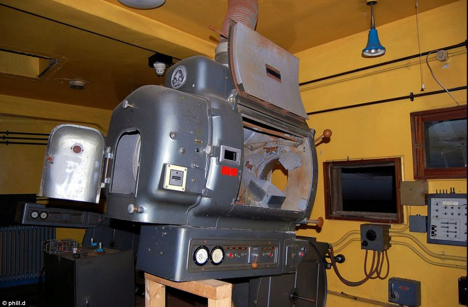 Out of use: A projector at the derelict picture house, where once the people of Bradford flocked to see films from the Golden Age of Hollywood in the 1930s and '40s