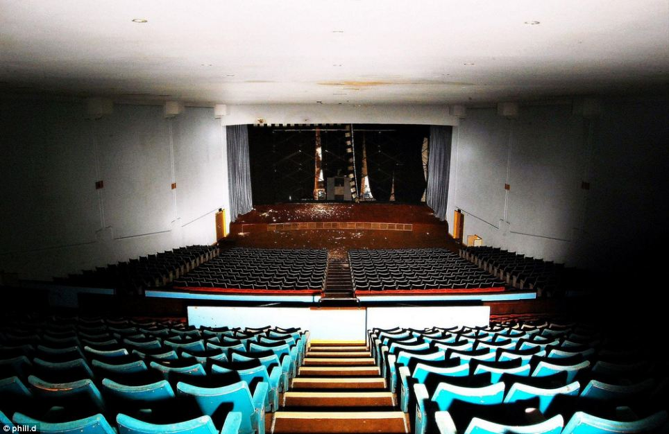 Deserted: Where once the auditorium inside the building would have housed hundreds of people, today it is dilapidated and deserted