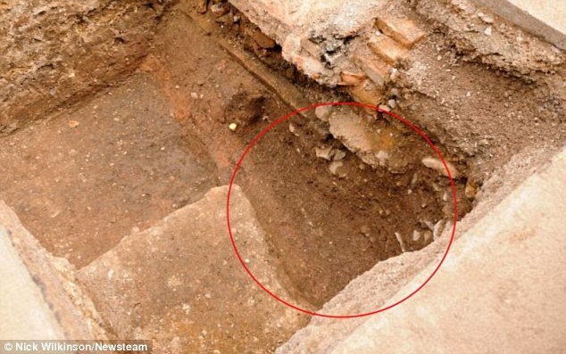 Burial: The spot (circled in red) where archaeologists believe they may have found the remains of King Richard III. The remains were found under a council car park of New St in the centre of Leicester