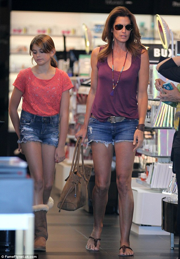 Mini-beauty: Kaia Gerber looks just like her mother Cindy in looks and style as they shop for beauty products in Los Angeles on Saturday