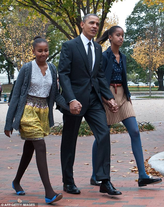 Fall fashion: Given the brisk weather, the girls opted for thick colored tights
