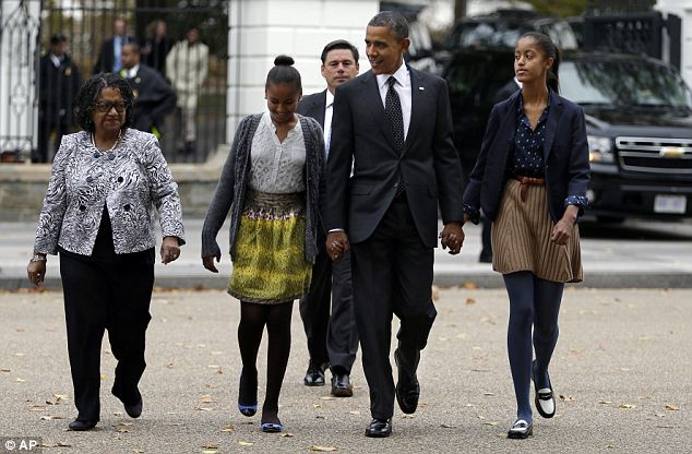 Sunday finest: The President attended church Sunday with his two daughters and their godmother Kaye Wilson