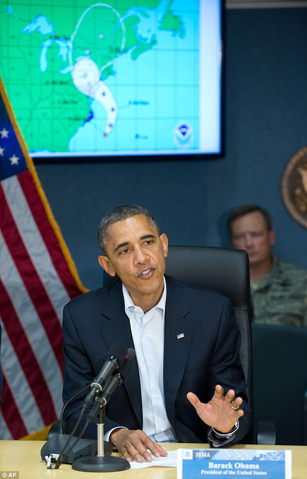 US President Barack Obama speaks to the press after a briefing on Hurricane Sandy at the Federal Emergency Management Agency (FEMA) in Washington, DC on Sunday