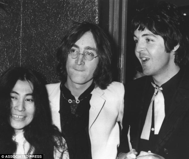 The ballad of John and Yoko: The famous couple pictured alongside Sir Paul McCartney in 1968, two years before the Beatles split