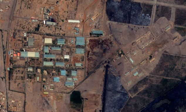 The Yarmouk military complex in Khartoum, Sudan seen in a satellite image made on October 12, prior to the alleged attack